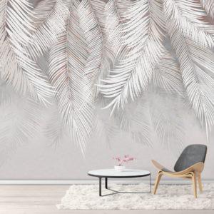 Tapet Modern Frunze Tropicale Albe - Lavabil si rezistent