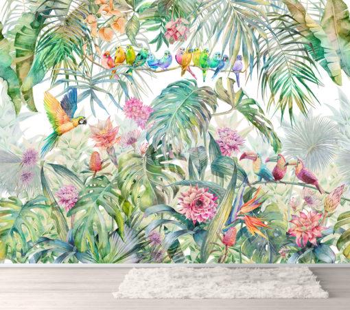 Fototapet Papagali pe liană - Multicolor